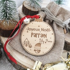 Boule de Noël Joyeux Noël Parrain