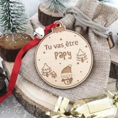 """Boule de Noël """"Tu vas être papy """" rouge"""