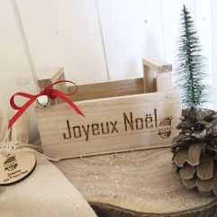 "Mini cagette en bois ""Joyeux Noël"""