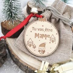 """Boule de Noël """"Tu vas être mamie """" rouge"""