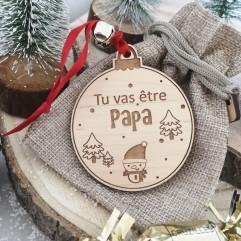 """Boule de Noël """"Tu vas être papa """" rouge"""