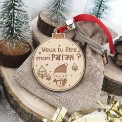 """Boule de Noël """"Voudrais tu être mon parrain """" rouge"""