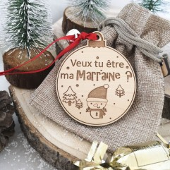 """Boule de Noël """"Veux tu être ma marraine ? """" rouge"""