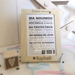 """Cadre """"Nounou d'Amour"""" + carte postale"""