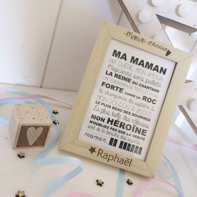 """Cadre """"Maman d'Amour"""" + carte postale"""