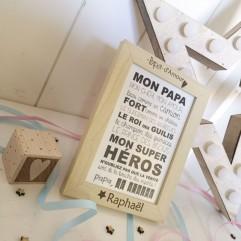 """Cadre """"Papa d'Amour"""" + carte postale"""