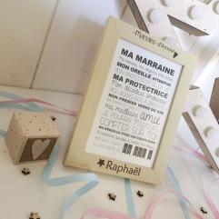 "Cadre ""Maraine d'Amour"" + carte postale"