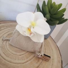 Sac en lin Orchidée