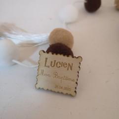 Lot de 25 étiquettes bois biscuit