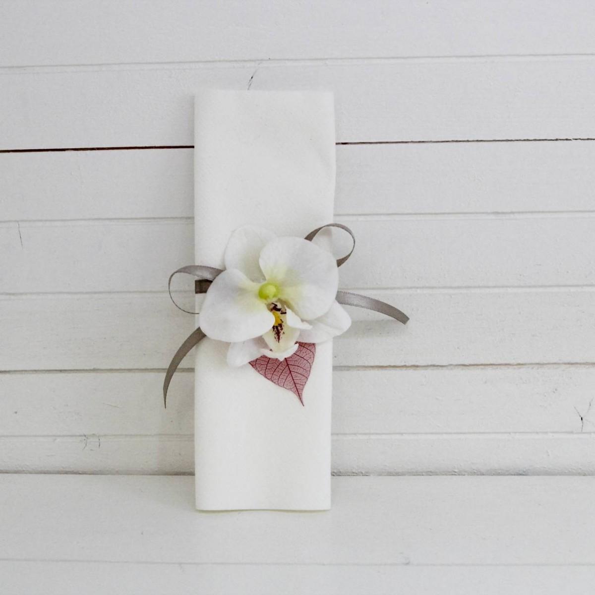 Rond de serviette orchid e les p tites f es - Serviette de table mariage ...