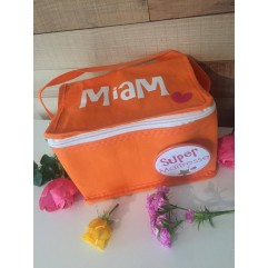 "Mini sac isotherme ""Miam""orange et son badge personnalisable"
