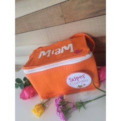 "Mini sac isotherme ""Miam""orange Badge personnalisable"