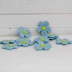 12 fleurs feutrine turquoise
