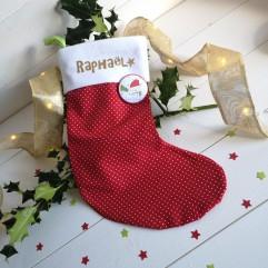Chaussette de Noël Rouge à pois