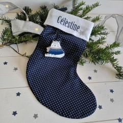 Chaussette de Noël Marine à pois