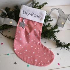 Chaussette de Noël Rose à étoiles
