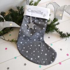 Chaussette de Noël Grise à étoiles