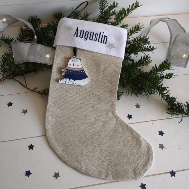 Chaussette de Noël Beige avec ourson