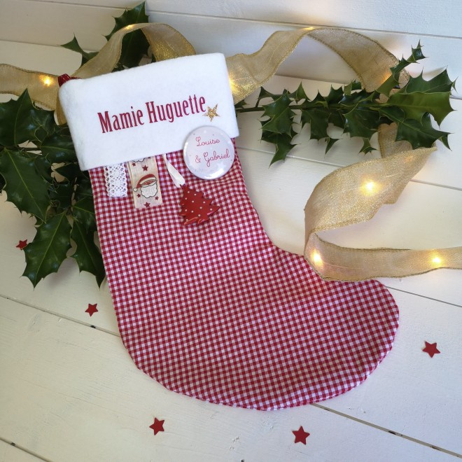 Chaussette de Noël vichy et badge personnalisable