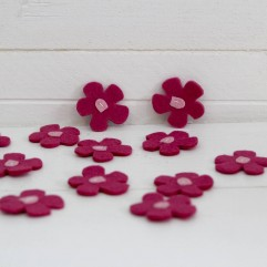 12 fleurs feutrine fuchsia