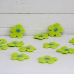 12 fleurs feutrine vertes