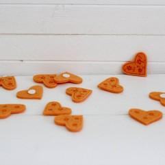 12 coeurs en feutrine orange