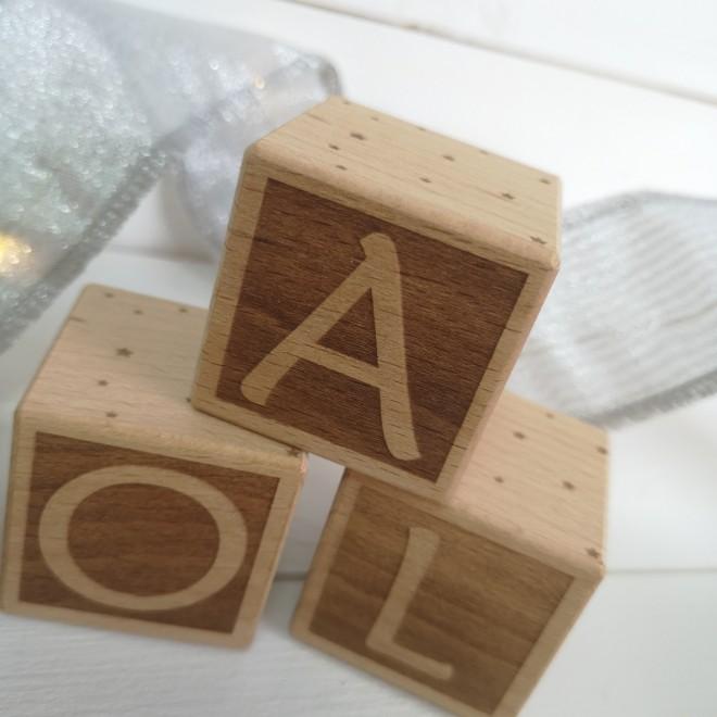 """1 Cube en bois """"Lettre"""""""