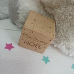 "1 Cube en bois ""Mon Premier Noël"""