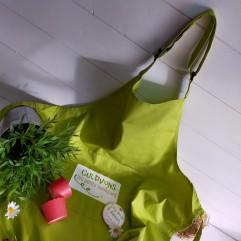 """Tablier adulte vert """"cultivons les petits bonheurs"""""""