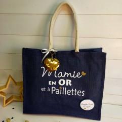 """Sac en jute """"Mamie en OR et à paillettes"""""""