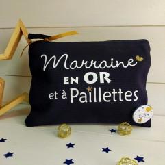 """Trousse """"Marraine en OR et à paillettes"""""""