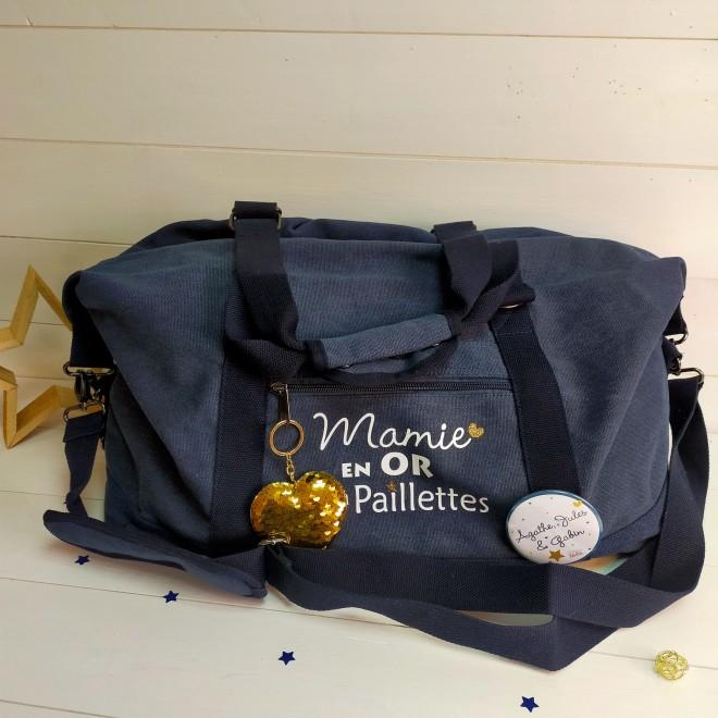 "sac week end vintage marine ""en or et à paillettes"""