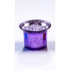 Bougeoir en verre violet