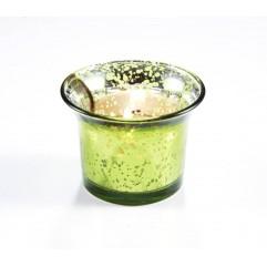 Bougeoir en verre vert