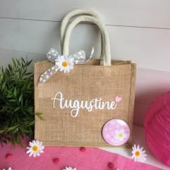 "Petit sac en jute ""floral"""