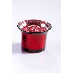 Bougeoir en verre rouge