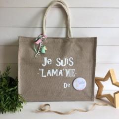 "Grand sac en jute "" Je suis LAMAmie de ..."""