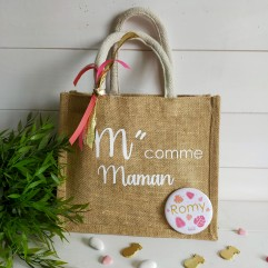 "Petit sac en jute ""M"" comme Maman"
