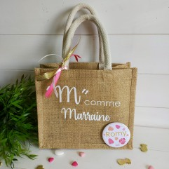 """Petit sac en jute """"M"""" comme Marraine"""