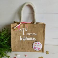 """Petit sac en jute """"I"""" comme Infirmière"""