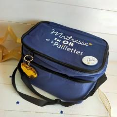 sac isotherme bleu Maîtresse en Or et à paillettes