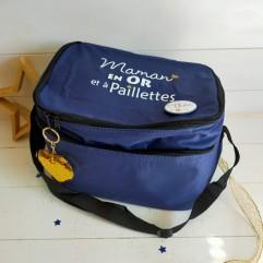 sac isotherme bleu Maman en Or et à paillettes