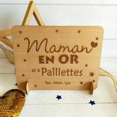 Panneau en bois en Maman Or et à paillettes
