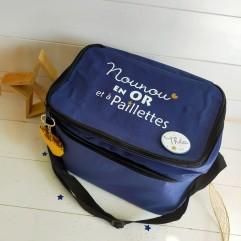 sac isotherme bleu nounou en Or et à paillettes