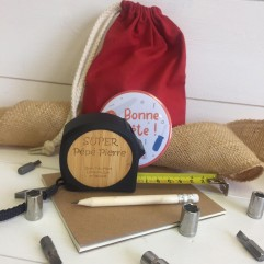 Mètre ruban bambou + carnet + crayon
