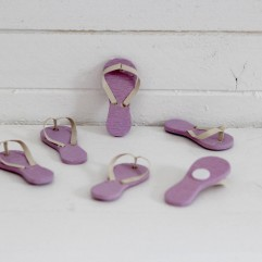 6 tongs mauve