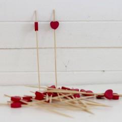 24 piques cœurs bois fuchsia